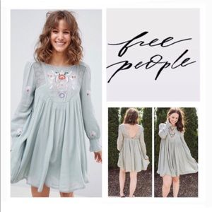 Free People Mohave Embroidered Swing Dress Sz M